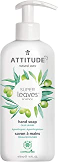 ATTITUDE Super Leaves, Hypoallergenic Hand Soap, Olive Leaves, 16 Fluid Ounce