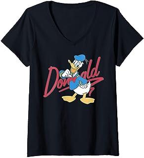 Femme Disney Donald Duck Red Cursive Text Logo Portrait T-Shirt avec Col en V