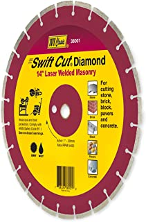 IVY Classic 38001 Swift Cut 14-Inch Dry and Wet Cutting Laser Welded Masonry Diamond Blade with 1-Inch - 20mm Arbor, 1/Card