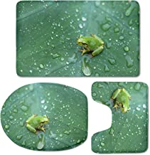 Xhuibop Frog 3 Pieces Bathroom Mat Set Absorbent Pedestal Rug Washable Toilet Lid Cover Ultra Soft Non Slip Bath Rug Floor...