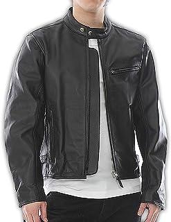 シャーク舗装するヒョウMolaws 本革 革ジャン メンズ シングルライダースジャケット レザージャケット