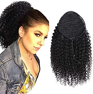 RACILY Curly Human Hair Ponytail with Wrap Drawstring 3C Remy Brazilian Virgin Hair Natural Color Afro Kinky Curly Hair Piece Clip-in Extensions (20