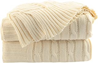 uxcell 100% Cotton Beige Throw Blanket - Soft Lightweight Blanket for Summer - Solid Crochet Sweater Texture Cable Knit Blanket for Couch Sofa Bed Car Home Decoration 47 X 70 Inches