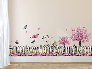 Amazon Brand - Solimo Wall Sticker for Living Room (Pink Floral Picket Fence with Butterflies, Ideal Size on Wall: 105 cm ...