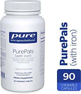 Pure Encapsulations - PurePals with Iron - Hypoallergenic Multivitamin/Mineral Formula for Cognitive Function, Mood and Immune Support* - 90 Chewable Tablets