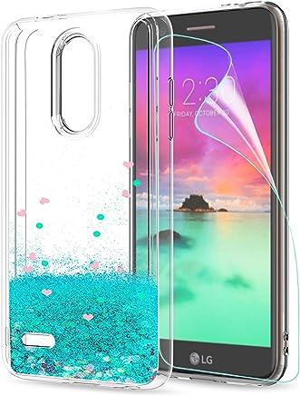 257cd4df4d2 LeYi Funda LG K11 / K11 Plus / K10 2018 Silicona Purpurina Carcasa con HD  Protectores de Pantalla,Transparente Cristal Bumper Telefono Fundas Case  Cover ...
