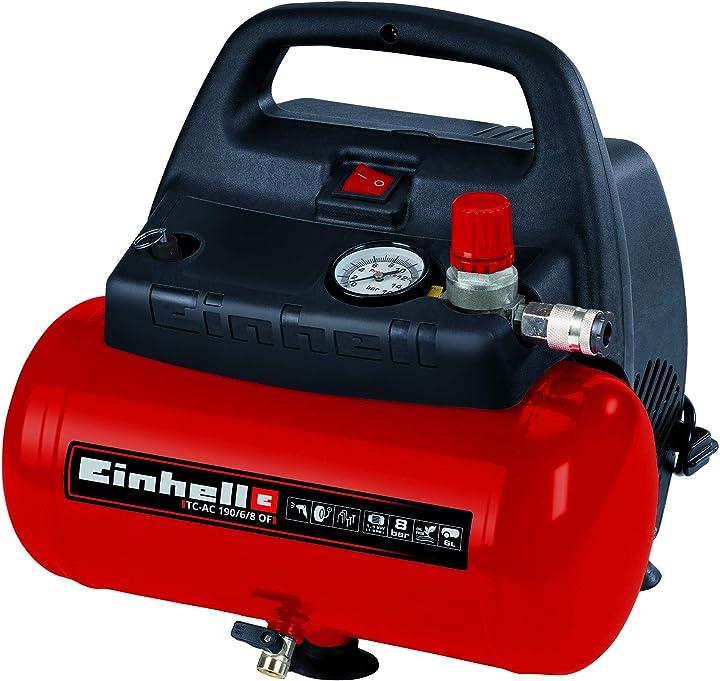 Compressore aria compressa einhell tc-ac 190/6/8 of 1100 w max. 8 bar motore senza olio/senza manutenzione 4020495