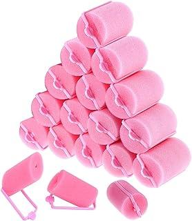 Rodillos de esponja de espuma para el cabello 18 piezas Herramientas de rulos de esponja suave para mujeres y niños Peinado de bricolaje (40 mm, rosa)