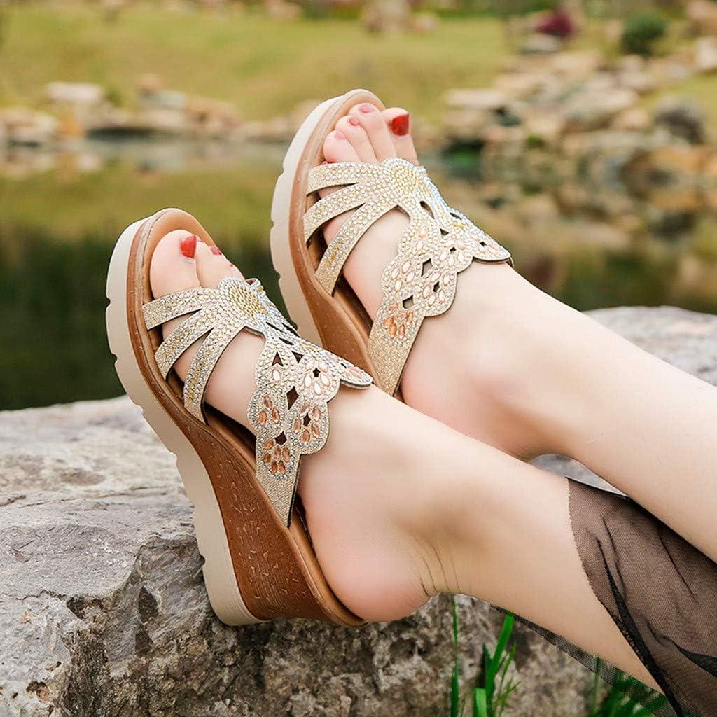 Sandalias Mujer Verano 2019 Zapatos de Plataforma Mujer Cu/ña Zapatos de Boca de Pescado Playa Zapatillas Sandalias de Punta Abierta Casual Fiesta Roman Tacones Altos Sandalias vpass