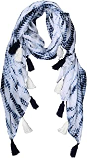 Scarfs for Man and Women - Blue and White Printed Japanese Shibori Cotton Head and Neck Scarf Hijab for Winter Fashion - 7...