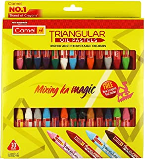 Camel Triangular Oil Pastels - 30 Shades (Multicolor)