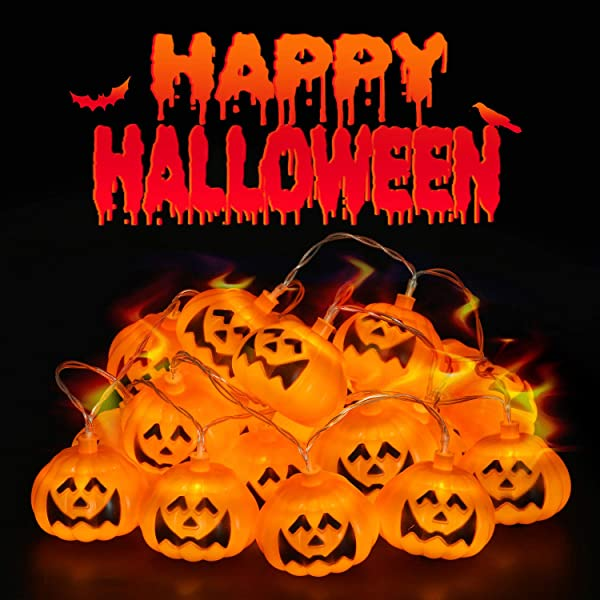 CAVWVTYU Halloween Lights Pumpkin Lights With 20 Battery Operated LEDs Halloween Decorations With Steady Blink Modes Indoor Outdoor String Lights For Patio Mantle Yard 20 Pumpkins