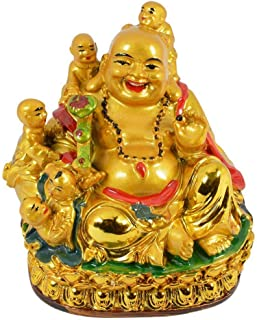 Odishabazaar Happy Man Laughing Buddha Holding Ru Yi and Sitting with 5 Kids/Five Children for Attracting Happiness in Family (10X10X8 cm)