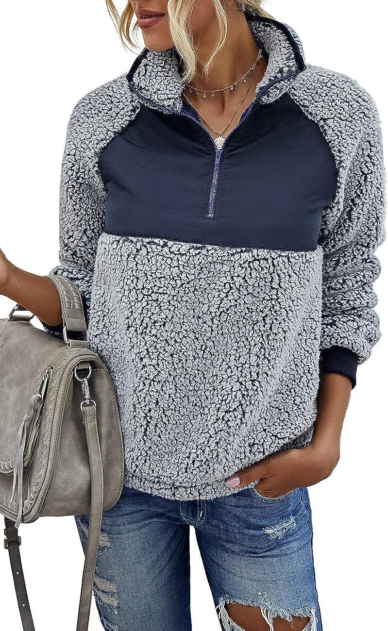 EFAN Women's Sherpa Long Sleeve Zipper Cozy Oversized Fluffy Fleece Sweatshirt Color Block Pullover Outwear Jacket Coat