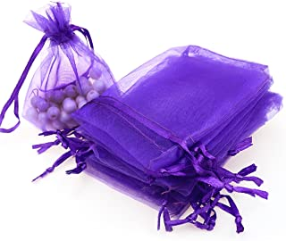 Akstore 100pcs 3.6x4.8''(9x12cm) Organza Gift Bags, Drawstring Pouches Jewelry Party Wedding Favor Gift Bags,Candy Bags. (Purple)
