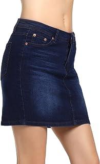 84bd31ee9 AMORETU Mujeres Verano Casual Mini Faldas De Mezclilla Una Linea De Cintura  Alta Falda De Jean