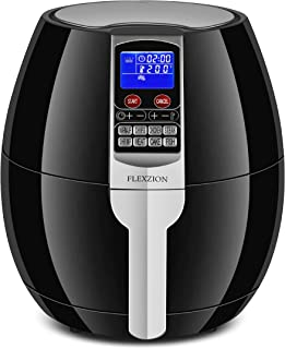 Flexzion Electric Air Fryer Cooker - Healthy Oil Less Dry Fryer Hot Air Steam Fryer with Digital Control Button Screen, Detachable Fry Basket 1500W, 3.7 Quart (Black)