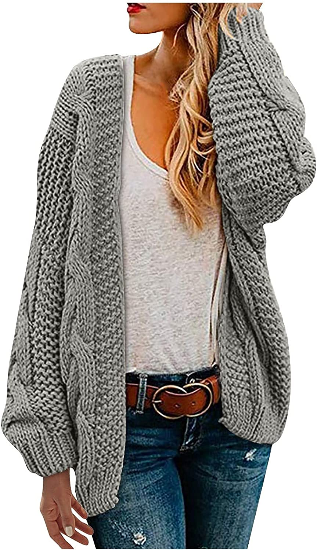 FORUU Women's Chunky Knit Cardigan 2021Casual Open Front Cardigans Solid Cardigan Knit Loose Oversized Knitwear Coat