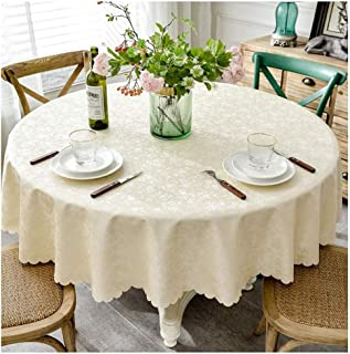 SHENGSHIHUIZHONG Tablecloths, Round Tablecloths, Suitable for Family Dining Tables, Festive Dinners. Home Supplie. Size: 72 Inches in Diameter, 80 Inches in Diameter. Color: Champagne, Red.