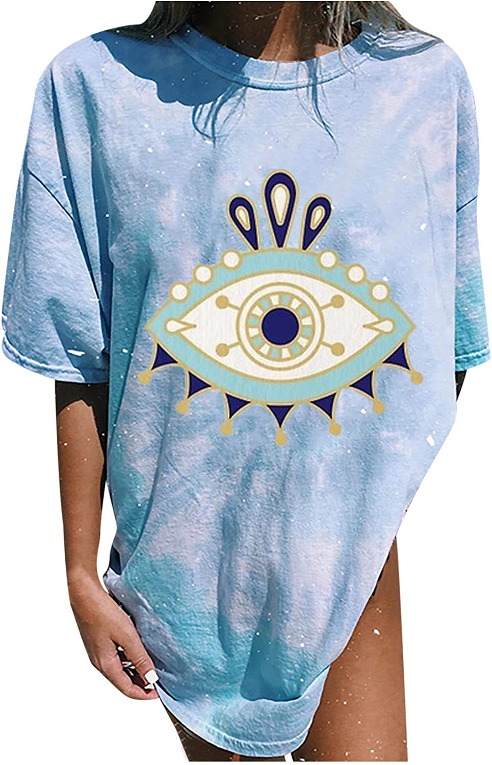 ORT Womens Vintage Oversized T Shirts Casual Short Sleeve Tops Teen Girls Eyes Moon and Sun Printed Blouses