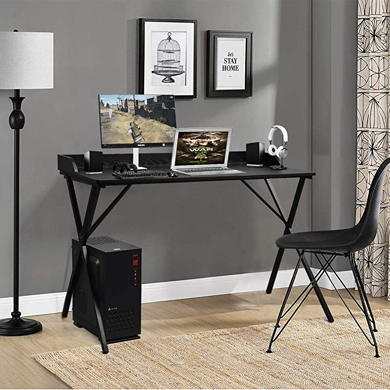 Aingoo Large Writing Computer Desk Study Table 47 Simplified Black Workstation Home Office Modern Updated Version Black
