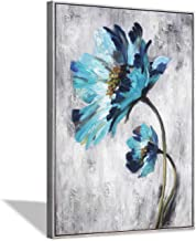 Blue Flower Canvas Wall Art: Abstract Floral Artwork with Artist Hand Painted Gold Foils Painting Picture Framed for Wall ...