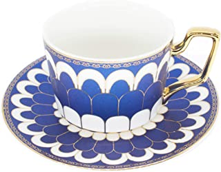 Tea Coffee Cups-6.8oz Bone China Ceramic Beautiful Blue Matte Glazed Tea Cup with Matching Saucers Father's Day Gift