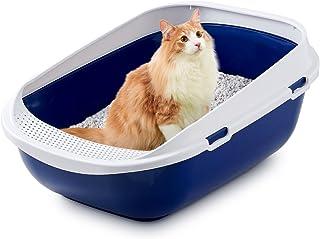 modernaproducts 猫用トイレ本体 メガトレー 本体 ブルーベリー 猫用トイレ 本体 大きい猫 大きいトイレ ゆったり広々サイズ 飛び散り防止カバー付き 専用ライナー付属 サイズ(約) 幅48×奥65×高28.5cm