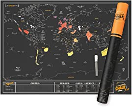 World Scratch Map With Chalk Pen – Write On Scratch Off Map – Exclusive World Scratch Poster with Counties, Cities, & Capitals – Fun & Vibrant Colors – Unique Gift For Travelers – Black