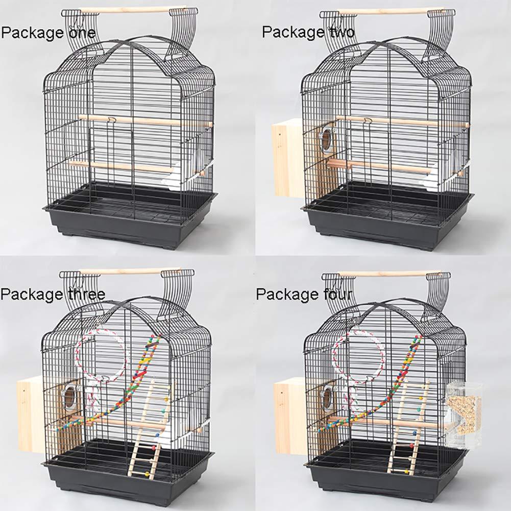 ZISITA Tejado De Metal Grande Periquito Jaula del Pájaro del Loro del Cockatiel Conure Budgie Lovebird Finch Mascotas Jaula del Pájaro W/Escalera Juguetes Colgantes,Package Four: Amazon.es: Hogar