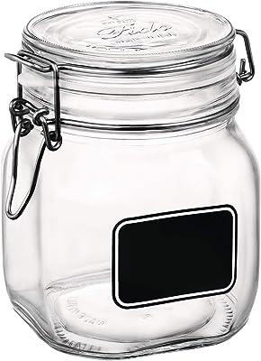 Bormioli Rocco Fido - Jarrón hermético con Etiqueta de Pizarra, Cristal, 1 L, pequeño