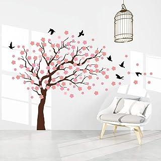onetoze Stickers Muraux Fleurs de Cerisier Stickers Muraux Arbre Stickers Muraux Oiseau Décoration Autocollant Mural pour ...