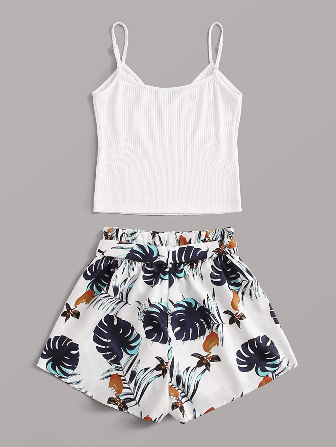SheIn Womens Sleeveless Solid Cami Tops and Tie Knotted Jungle Leaf Shorts Sets