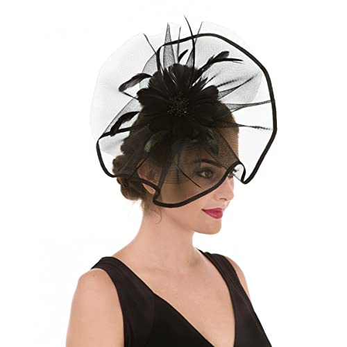 9d47cf2fad1 SAFERIN Fascinator Hat Feather Mesh Net Veil Party Hat Flower Derby Hat  with Clip and Hairband