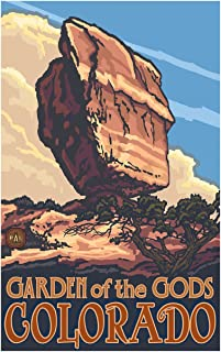 Balanced Rock Garden of The Gods Colorado Travel Art Print Poster by Paul A. Lanquist (12