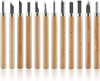 GWHOLE 彫刻刀 セット 篆刻 木工 美術 篆刻 版画 DIY工具 粘土 細工道具 木製柄 収納ケース付き12本セット入園入学準備