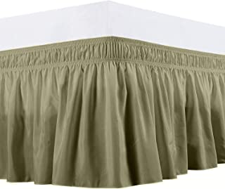 Lavish Linens Easy to Fit Wrap Around Bed Skirt/Dust Ruffle 750 TC Cotton (Solid Taupe, Expanded Queen) - 17 Inch Drop Length Easy to Care, Hotel Quality Elastic Dust Ruffle, Adjustable Bed Skirt