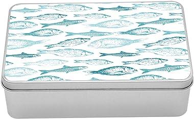 Lunarable Fish Tin Box, Mediterranean Aquatic Creatures in Soft Pastel Monochrome Color Illustration, Portable Rectangle Meta