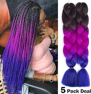 NAYOO 24inch Ombre Jumbo Braid Hair Extensions Synthetic High Temperature Fiber Kanekalon Braiding Hair 5pcs (49#)