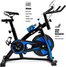 XtremepowerUS Cycling Bicycle LED Stationary Exercise Bike Fitness Health 22lbs Flywheel Trainer Bike Workout, Blue
