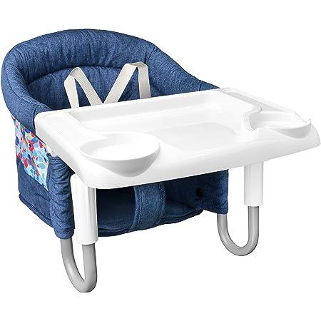 Mosbaby Asiento de mesa para bebé con bandeja, silla plegable para mesa de comedor, asiento para bebé antideslizante para fijar a la mesa, silla de mesa acolchada para casa y viaje