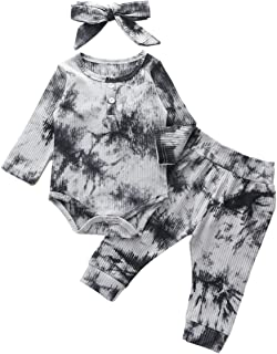 Baby Girls Long Sleeve Romper Tie Dye Trouser Headband 3 Pieces Toddler Short Sleeve Bodysuit Outfits Set for 0-24 Months