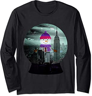Funny Snowman in NYC snow globe shaker graphic design Long Sleeve T-Shirt