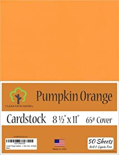 Pumpkin Orange Cardstock - 8.5 x 11 inch - 65Lb Cover - 50 Sheets