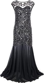 15483da15f70a PrettyGuide Femmes 1920s Noir Paillette Gatsby Longueur de Plancher Soirée Robe  De Bal