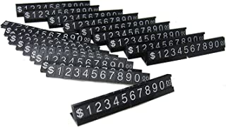 Price Display Counter Stand Label Tag, Adjustable, Number and Base (Black)