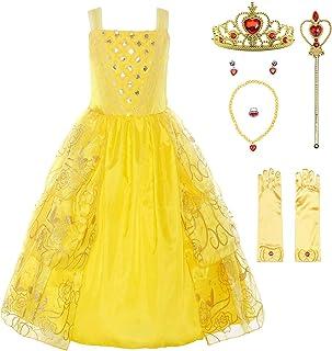 f7da6590beb ReliBeauty Fille – Robe de Princesse La Belle et La Bête sans Manches  vêtement Cosplay Printemps