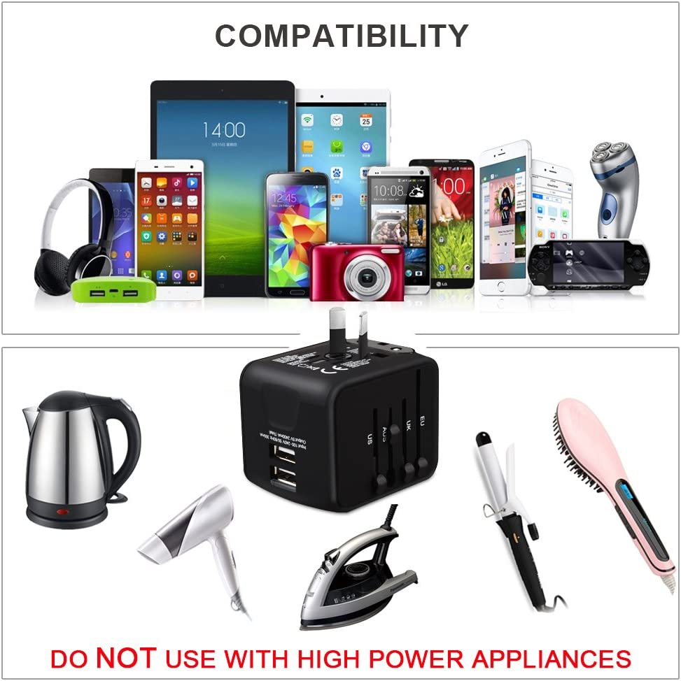 HaoZi SLIronM-01 All-in-One Universal Travel Adapter with 2.4A 4 ...