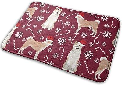 "Akita Dog Breed Christmas Peppermint Sticks Candy Canes Ruby_30426 Doormat Entrance Mat Floor Mat Rug Indoor/Outdoor/Front Door/Bathroom Mats Rubber Non Slip 23.6"" X 15.8"""