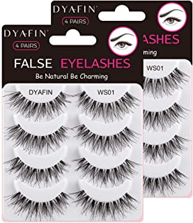 DYAFIN Natural Eyelashes 100% Handmade Lashes Reusable Lightweight Soft False Eyelashes 8 Pairs No Glue Fake Eyelashes